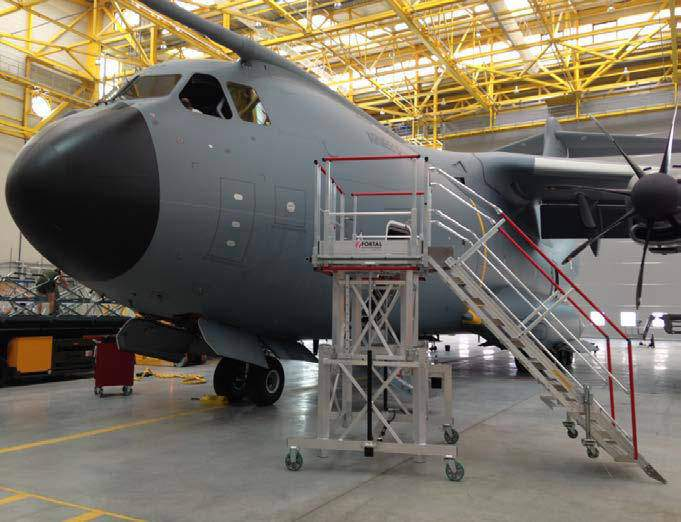 Stepladders for maintenance operations military aircraft