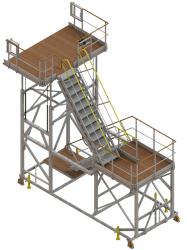 Aircraft access stepladder for rear passenger door