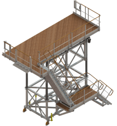 Aircraft access stepladder for double doors