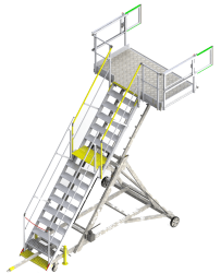 Height-adjustable runway stepladders