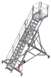 Multipurpose height-adjustable runway stepladder