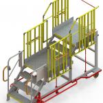 Vue 3D de l'escabeau d'accès universel comportant 2 niveaux. Les garde-corps sont en place.