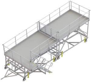 plateforme de travail avec pente pour accès sous voilure
