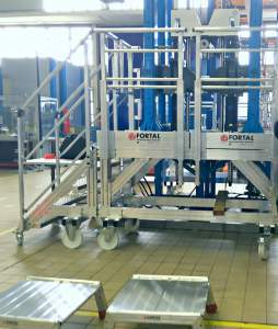 Symetrical mobile platforms for landing gear test bench access
