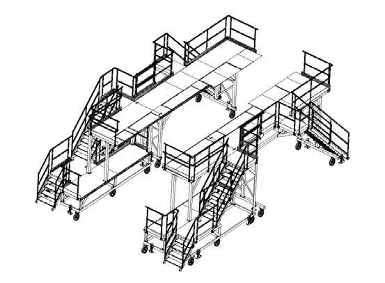 Platforms for access and maintenance operations on helicopter Super Frelon - 3D view